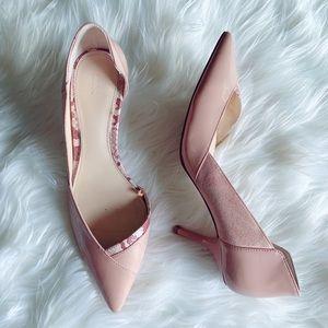 ZARA Pink Suede Snakeskin Patent Leather Heels!